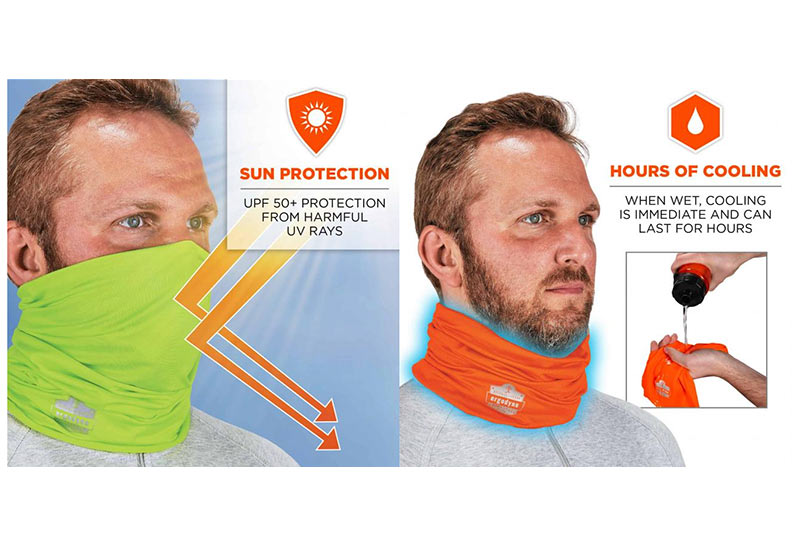 Multiple Ways to Wear Headband or Face Mask,Lime Ergodyne Chill-Its 6487 Cooling Neck Gaiter